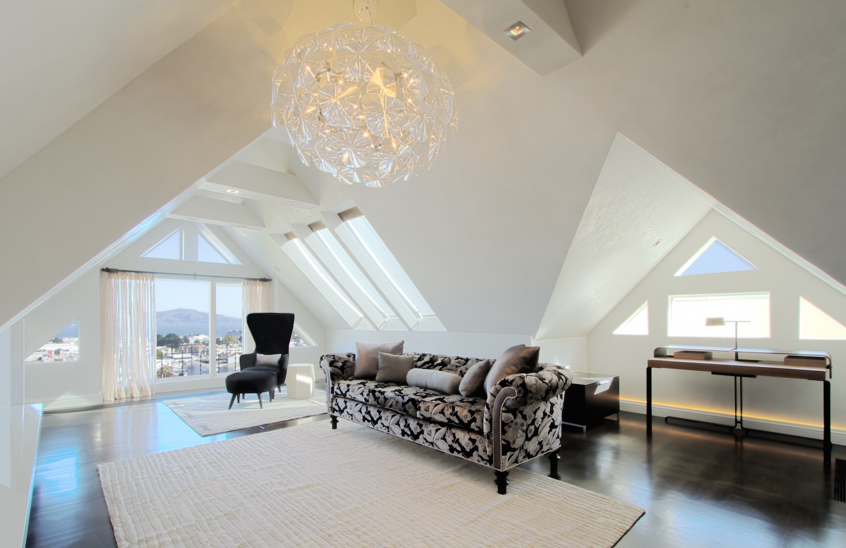 Skylight and window replacements in Pacific Heights attic penthouse